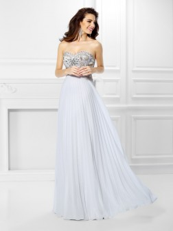 Empire Sweetheart Beading Sleeveless Floor-Length Chiffon Dresses