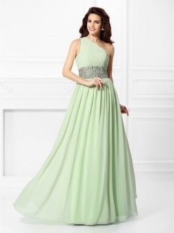 A-Line/Princess One-Shoulder Beading Sleeveless Floor-Length Chiffon Dresses