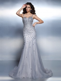 Trumpet/Mermaid Spaghetti Straps Rhinestone Sleeveless Sweep/Brush Train Organza Dresses