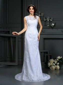 Sheath/Column High Neck Lace Sleeveless Court Train Lace Wedding Dresses