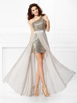 A-Line/Princess One-Shoulder Sequin Sleeveless Floor-Length Chiffon Dresses