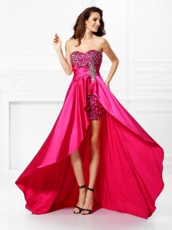 A-Line/Princess Sweetheart Beading Sleeveless Asymmetrical Elastic Woven Satin Dresses