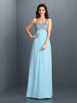 A-Line/Princess Straps Beading Sleeveless Floor-Length Chiffon Dresses