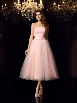 Ball Gown Strapless Sash/Ribbon/Belt Sleeveless Tea-Length Satin Dresses