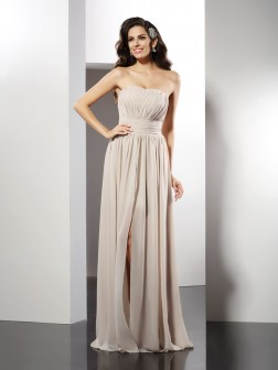 Sheath/Column Strapless Pleats Sleeveless Floor-Length Chiffon Dresses