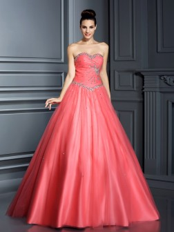 Ball Gown Sweetheart Beading Sleeveless Floor-Length Net Dresses