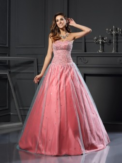 Ball Gown Sweetheart Beading Sleeveless Floor-Length Satin Dresses
