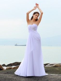 Sheath/Column Sweetheart Beading Sleeveless Chapel Train Chiffon Wedding Dresses