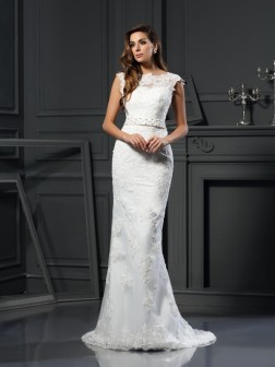 A-Line/Princess Bateau Lace Sleeveless Court Train Satin Wedding Dresses