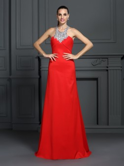 A-Line/Princess High Neck Beading Sleeveless Sweep/Brush Train Elastic Woven Satin Dresses