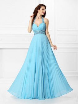 A-Line/Princess Halter Rhinestone Sleeveless Floor-Length Chiffon Dresses
