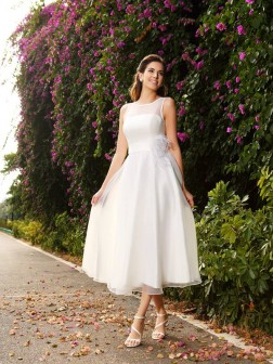 A-Line/Princess Bateau Sash/Ribbon/Belt Sleeveless Ankle-Length Satin Wedding Dresses
