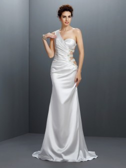 Trumpet/Mermaid One-Shoulder Beading Sleeveless Sweep/Brush Train Elastic Woven Satin Dresses