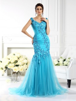 Trumpet/Mermaid Straps Applique Sleeveless Sweep/Brush Train Silk like Satin Dresses