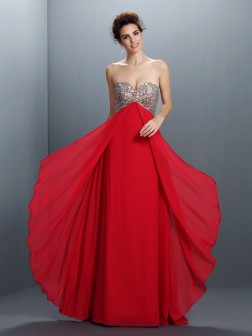 A-Line/Princess Sweetheart Beading Paillette Sleeveless Floor-Length Chiffon Dresses