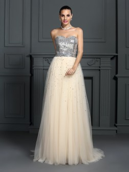 A-Line/Princess Sweetheart Beading Sleeveless Floor-Length Lace Dresses