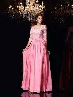 A-Line/Princess Scoop Applique 1/2 Sleeves Floor-Length Silk like Satin Dresses