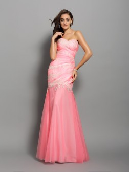 Trumpet/Mermaid Sweetheart Beading Sleeveless Floor-Length Elastic Woven Satin Dresses
