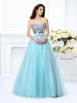 Ball Gown Sweetheart Beading Sleeveless Paillette Floor-Length Satin Dresses