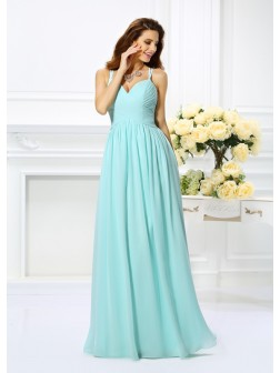 A-Line/Princess Spaghetti Straps Pleats Sleeveless Floor-Length Chiffon Dresses