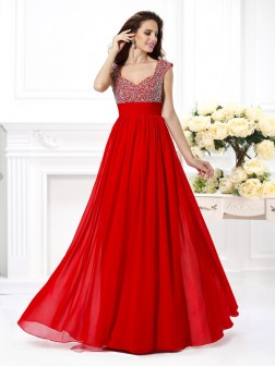 A-Line/Princess Straps Beading Sleeveless Paillette Floor-Length Chiffon Dresses