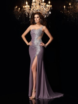 Trumpet/Mermaid One-Shoulder Rhinestone Sleeveless Sweep/Brush Train Chiffon Dresses