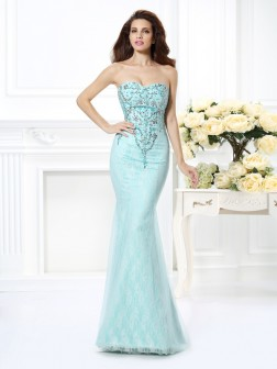 Trumpet/Mermaid Sweetheart Beading Lace Sleeveless Floor-Length Net Dresses