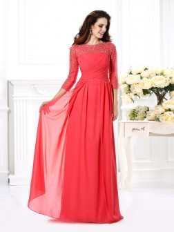 A-Line/Princess Scoop Beading 3/4 Sleeves Floor-Length Chiffon Dresses