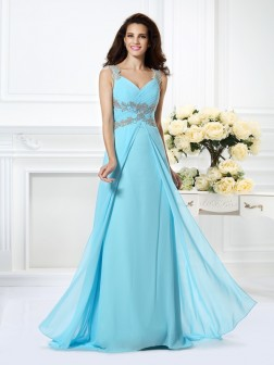 A-Line/Princess V-neck Beading Sleeveless Floor-Length Chiffon Dresses