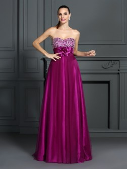 A-Line/Princess Sweetheart Hand-Made Flower Sleeveless Floor-Length Elastic Woven Satin Dresses