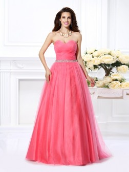 Ball Gown Sweetheart Pleats Sleeveless Floor-Length Satin Dresses