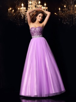 Ball Gown Sweetheart Sequin Sleeveless Floor-Length Elastic Woven Satin Dresses