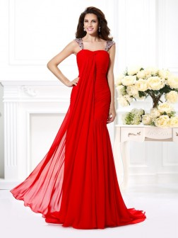 Trumpet/Mermaid Straps Beading Rhinestone Sleeveless Sweep/Brush Train Chiffon Dresses