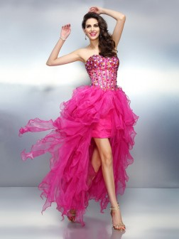 A-Line/Princess Sweetheart Rhinestone Sleeveless Asymmetrical Organza Cocktail Dresses