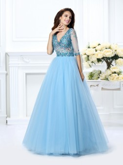 Ball Gown V-neck Beading 1/2 Sleeves Floor-Length Satin Dresses