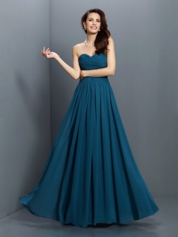 A-Line/Princess Sweetheart Pleats Sleeveless Floor-Length Satin Bridesmaid Dresses