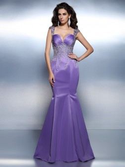 Trumpet/Mermaid Sweetheart Beading Sleeveless Sweep/Brush Train Satin Dresses