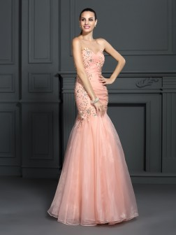 Trumpet/Mermaid Sweetheart Applique Sleeveless Floor-Length Organza Dresses