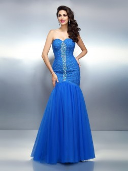 Trumpet/Mermaid Sweetheart Rhinestone Sleeveless Floor-Length Satin Dresses