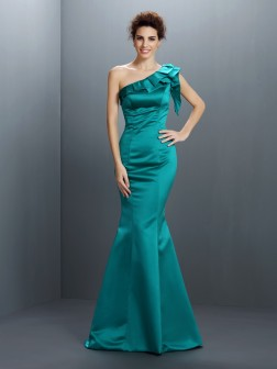 Trumpet/Mermaid One-Shoulder Sleeveless Floor-Length Satin Dresses