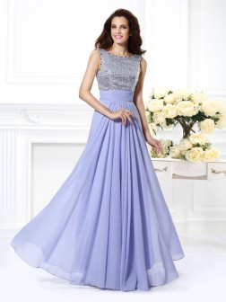A-Line/Princess Bateau Lace Sleeveless Paillette Floor-Length Chiffon Dresses