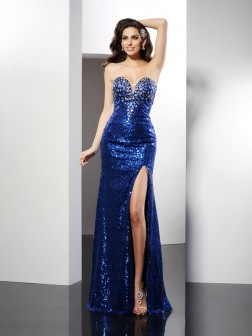 Sheath/Column Sweetheart Sequin Sleeveless Floor-Length Sequins Dresses