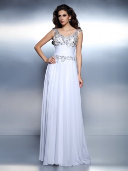 A-Line/Princess Scoop Beading Sleeveless Rhinestone Sweep Train Chiffon Dresses