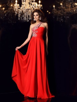 A-Line/Princess One-Shoulder Beading Sleeveless Sweep/Brush Train Chiffon Dresses