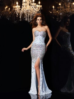 Trumpet/Mermaid Sweetheart Rhinestone Sleeveless Sweep/Brush Train Chiffon Dresses