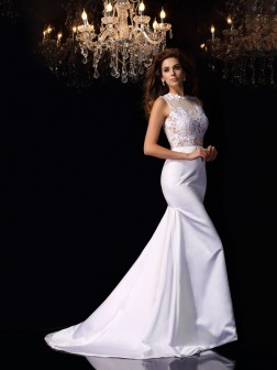 Trumpet/Mermaid High Neck Applique Sleeveless Chapel Train Satin Wedding Dresses