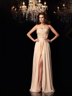 A-Line/Princess Sweetheart Hand-Made Flower Sleeveless Floor-Length Chiffon Dresses