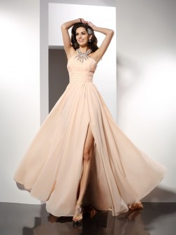 A-Line/Princess Jewel Ruffles Sleeveless Sweep/Brush Train Chiffon Dresses