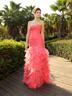 Trumpet/Mermaid Strapless Beading Sleeveless Floor-Length Organza Dresses