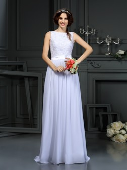 A-Line/Princess Scoop Lace Sleeveless Floor-Length Chiffon Wedding Dresses
